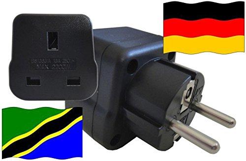 Adaptador de enchufe para Alemania – Adaptador de enchufe Tanzania con protección de contacto enchufe de viaje