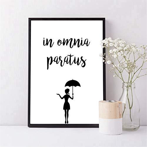 Danjiao In Omnia Paratus Poster Leinwand Kunstdrucke Gilmore Girls Tv Show Zitate Leinwand Gemälde Schwarz Weiß Bild Home Wall Art Decor Wohnzimmer 40x60cm