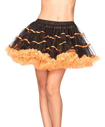 Leg Avenue Women's Layered Striped Petticoat Skirt in 4 Colors.