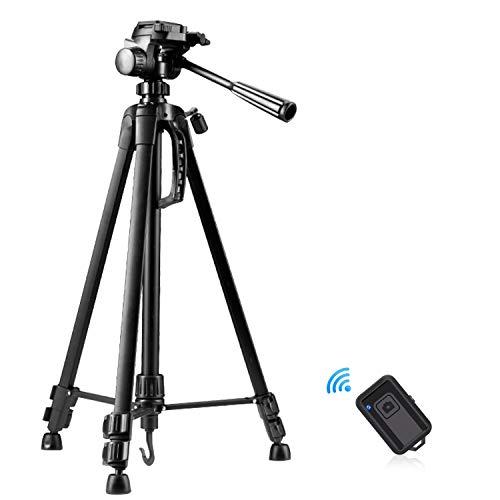 Kamera Stativ, 140cm Handy Stative Kompakt Leichtes Stativ mit Smartphone Halterung und Bluetooth Fernauslöser Fotostativ Reisestativ für iPhone, DSLR, Kamera, Gopro