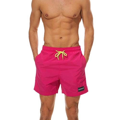 TEBAISE Herren Vert Shorts Boardshorts Solide wasserdichte Badehose Badeshorts in Vielen Farben Schwarz(Heiß Rosa,L)