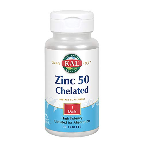 KAL Zinc 50 Amino Acid Chelate | Healthy Metabolism & Immune Function Support | Chelated for Absorption | 90ct, 90 Serv.
