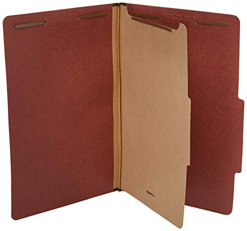 Amazon Basics Pressboard Classification File Folder with Fasteners, 1 Divider, 1.75 Inch Expansion, Legal Size, Red (10 Pack)