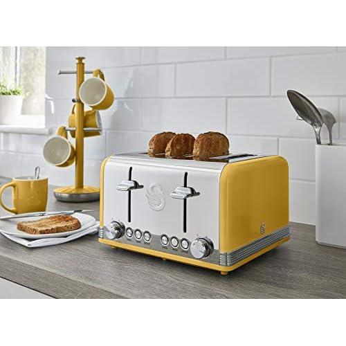 Swan 4 Slice Retro Toaster 1600 W - Yellow