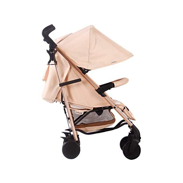 My Babiie AM to PM MB51 Blush Stripes Rose Gold Stroller My Babiie Designed by music and lifestyle star Christina Milian in a beautiful black frame and leopard print as part of her AMPM range named after her 2001 hit song AM to PM Stylish ultra-modern stroller, stunning complimentary colour handles, height adjustable handles, Lightweight & strong aluminium chassis, easy fold technology, lockable front swivel wheels, side carry handle, compact fold Extendable 3 position canopy, padded removable front bar, large storage basket, front and rear wheel suspension, adjustable 2-position leg rest 5