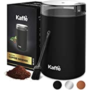 KF2010 Electric Coffee Grinder by Kaffe - Black 2.5oz Capacity with Easy On/Off Button. Cleaning Brush Included!