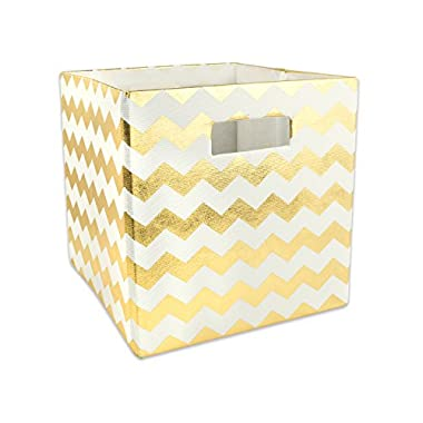 DII Hard Sided Collapsible Fabric Storage Container for Nursery, Offices, Home Organization, (11x11x11) - Chevron Gold
