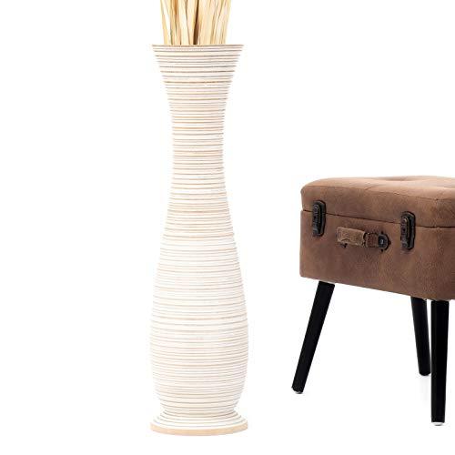 Leewadee Grande Vaso da Terra: Vaso Alto, Elemento Decorativo Fatto a Mano in Legno Esotico, Vaso per per Rami Decorativi, 75 cm, White Wash