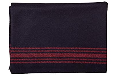 Farm Blue Wool Blanket Military Style - Thick & Lightweight Army Camping Blankets - Large Camp Survival Blankets for Car, Hiking, Backpacking & Outdoor Festivals (Navy with Red Stripes)
