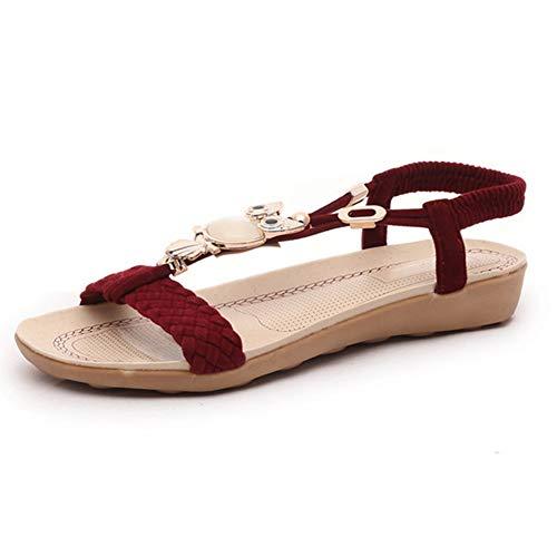 Sandalias de Mujer Slip en Pisos Gladiador Flip Flops Verano al Aire Libre Zapatos de Playa T Correa cuña talón Abierto Zapatos de Punta