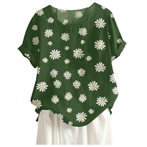 MOTOCO Damen Modisch Bedrucktes T-Shirt Lässige Lose O-Ausschnitt Kurzarm Tops Bluse Übergröße(2XL.Grün-3)