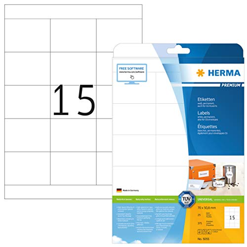 HERMA 5055 Universal Etiketten DIN A4 (70 x 50,8 mm, 25 Blatt, Papier, matt) selbstklebend, bedruckbar, permanent haftende Adressaufkleber, 375 Klebeetiketten, weiß