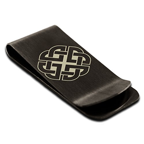 Tioneer Matte Black Stainless Steel Celtic Quaternary Knot Rune Symbol Money Clip Credit Card Holder