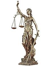 Lady Justice Statue, Cold Cast Bronze Top Collection Sculpture Romeinse godin van Wet Sculpture in Premium (kleur: Messing, Grootte: 6x4x12inch)