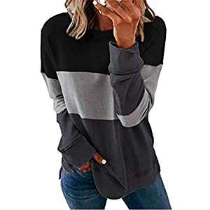 Women's Crewneck Tunics Color Block Comfy Soft Long Sleeve T-Shirt To...