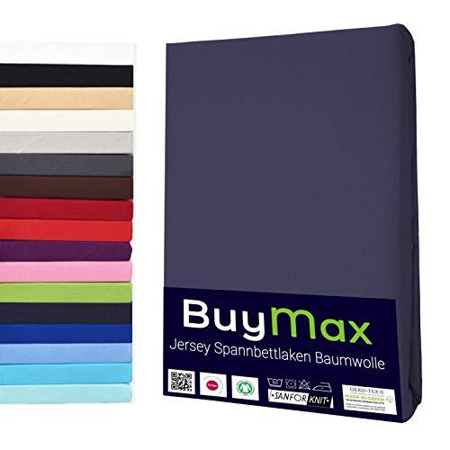 Buymax Spannbettlaken 90x200-100x200 cm Spannbetttuch Bettlaken 100% Baumwolle Jersey Bettbezug für Matratzen bis 25 cm Steghöhe, Anthrazit