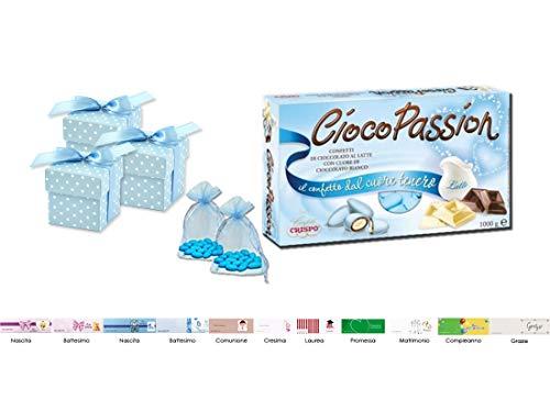Bomboniere fai da te scatoline pois PUDP5 + Confetti + Sacchetti +bigl (Celeste PUDP5-B)