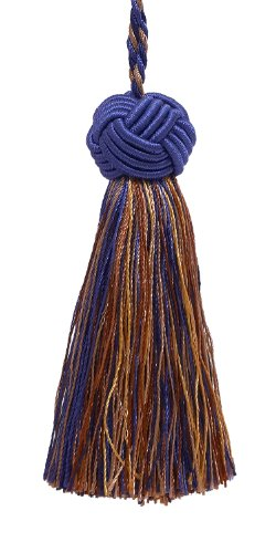 Decorative 89mm Tassel / Ultramarine Blue, Tan / Baroque Collection Style# BTS Color: NAVY TAUPE - 5817