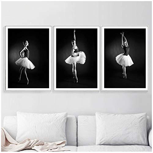 Generic Ballett-Mädchen-Schwarz Whitewall Kunst Leinwand-Malerei Nordic Poster und Drucke Pop-Art-Wandbild für Wohnzimmer Schlafzimmer-50x70cmx3pcs-No Frame