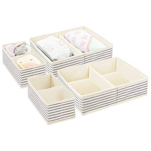 mDesign Juego de 4 Cajas para Guardar Ropa en 2 tamaños – Organizador de Armario con 2 apartados para Cuarto Infantil – Cajas organizadoras de Fibra sintética con diseño Bicolor – Crudo/Azul Cobalto