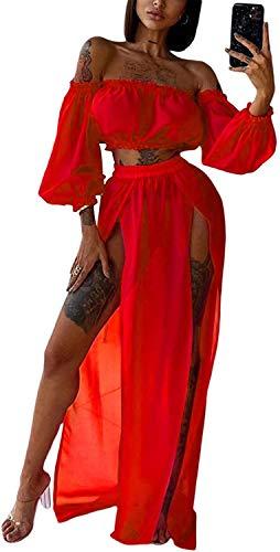 copricostume donna due pezzi Loalirando 2 Pezzi Copricostume Donna a Manica Lunga Senza Spalline Abito da Spiaggia Sexy Elegante Bikini Cover Up in Pizzo (rosso