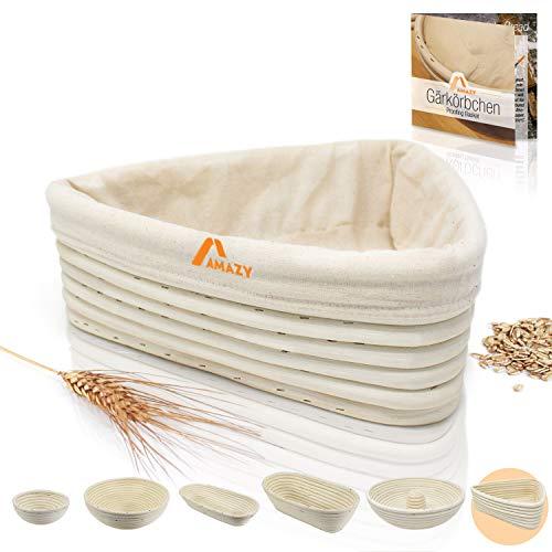 Amazy Koszyk do garowania w zestawie z instrukcją (może nie być dostępna w języku polskim) z przepisami – idealny kosz do pieczenia ciasta na chleb z naturalnej wikliny (trójkąt | 25 cm) – z lnianą wkładką