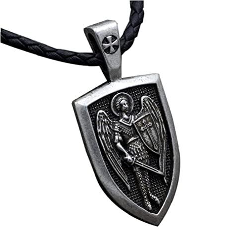 BFDMY Regalo del Collar De La Vendimia Arcángel San Miguel Protegerme San Protección Escudo Charm Colgante Hombres