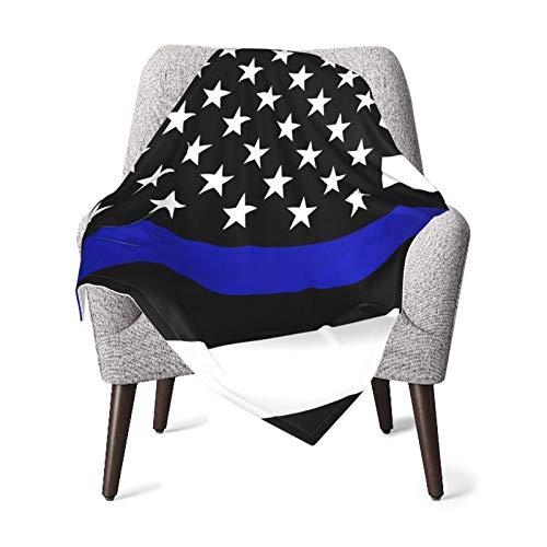 Olverz Manta para bebé con bandera de línea azul, cómoda manta de bebé de felpa gruesa manta de bebé suave para cochecito cuna recién nacidos