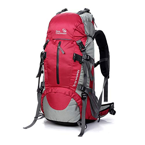 CKR 50L Multifunctional Outdoor Hiking Bag, Travel Nylon Waterproof Hiking Bag Backpack, Hunting, Hiking, Camping And Outdoor,Red