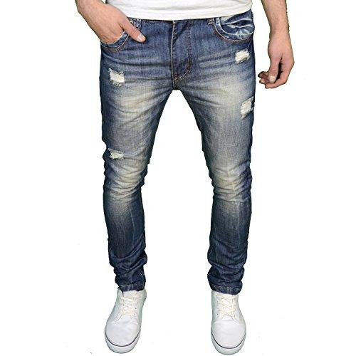 Soulstar Mens Designer Branded Slim Fit Ripped Distressed Fashion Jeans, Faded Stonewash, 34W x 30L