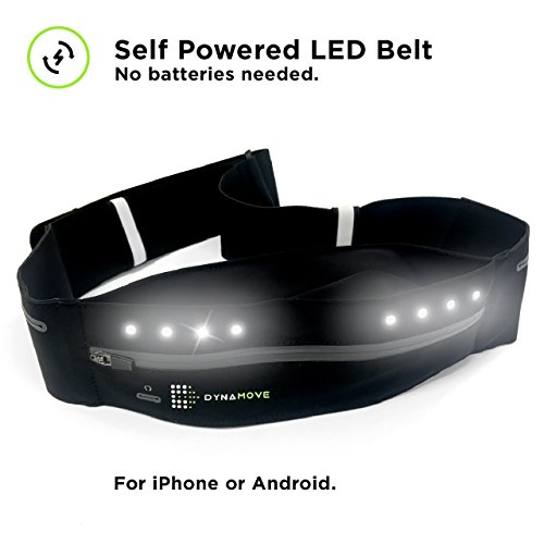 Dynamove Running belt for Iphone or Android with Motion Powered LEDs - no battery or charging needed. Adjustable perfect fit for Men & Women (Small)