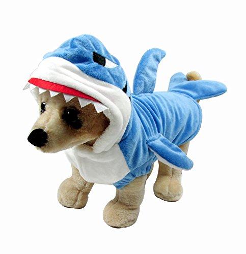 Mangostyle Mogoko Pet vêtement pour Chien Chat en Forme de Requin Bleu Velours Shark Hoodie Costume Taille S-XXXL