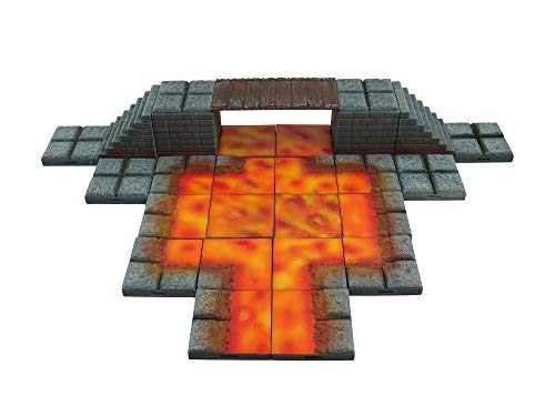 EnderToys Locking Dungeon Tiles - Bridge Over Lava, Terrain Scenery Tabletop 28mm Miniatures Role Playing Game, 3D Printed Paintable