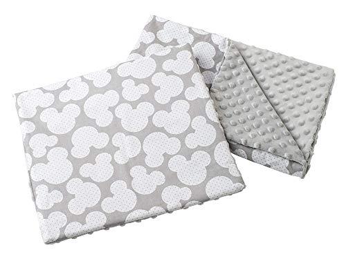 Babydecke Krabbeldecke mit Kissen 100% Baumwolle MINKY Kinderdecke 55x75 + 35x30cm multifunktional für Kinderwagen Babyschale Wiege Medi Partners (Miki mit grauen Minky)