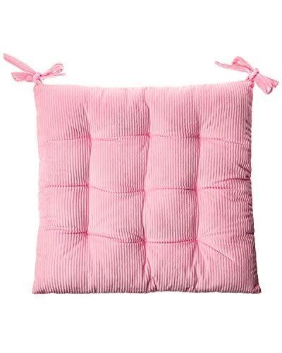 """XQ HOUSE Corduroy Chair Cushion with Ties Ultra Soft Warm Floor Cushion for Kids Reading Nook Comfortable Square Seat Cushion for Adult 15.7""""x15.7"""", Pink"""