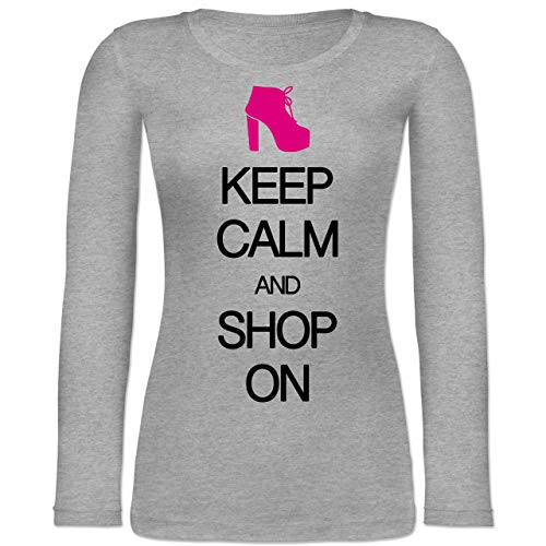 Keep Calm - Keep Calm and Shop on - M - Grau meliert - Typo-Grafie - BCTW071 - Langarmshirt Damen