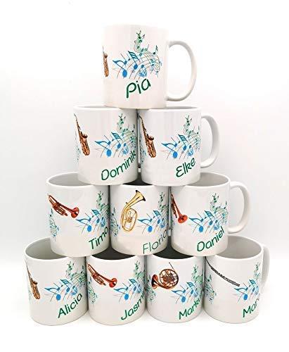 Personalisierte Musiker-Tasse. Kaffeetasse mit Noten, Instrument und mit Namen personalisiert. Individuelle bedrucktes Geschenk für Musiker zum Geburtstag oder als Ostergeschenk.