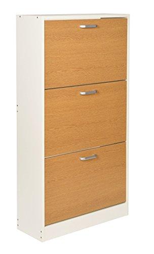 ts-ideen Zapatero pasillo madera 3 cajones blanco con puertas en color roble 121 x 64 cm