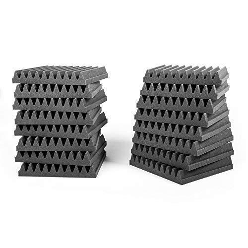 Pack 16 Uds, Paneles absorbentes Studio Pro, Planchas de espuma acústica de alta calidad, Dimensiones 30x30x5cm, Color gris antracita.