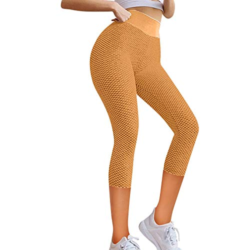 Cloodut Pantalones deportivos 3/4 para mujer, para yoga, fitness, cintura alta, pantalones de entrenamiento (naranja, XXL)