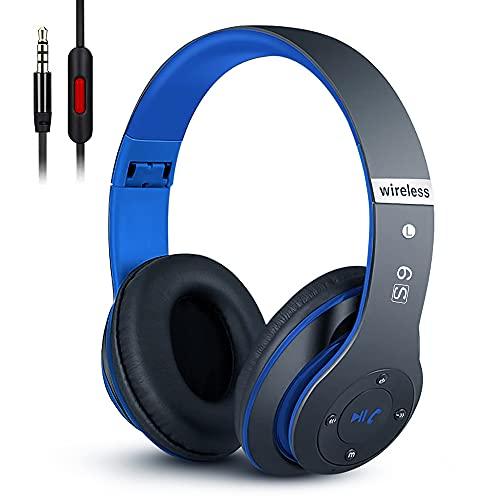6S Over-ear Wireless Cuffie, Cuffie Wireless Bluetooth Cuffie Wireless Stereo Pieghevoli ad Alta Fedeltà, Microfono Incorporato, Micro SD/TF, FM