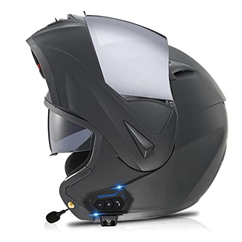 LILIXINGSH Casco Moto Modular con Bluetooth Cascos Motocicleta Integrado Hombres Mujeres, ECER 22-05 Aprobado Doble Visera Anti Niebla HD Casco Moto para Adultos Bluetooth Casco Moto Modular