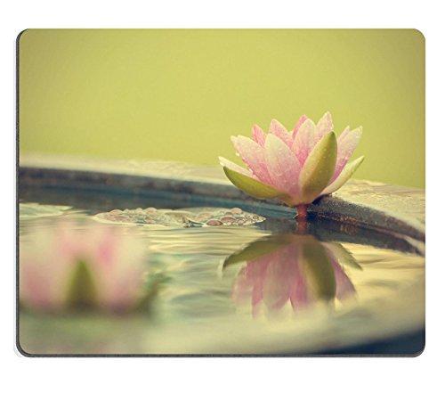 Sugee MSD Caucho Natural Alfombrilla para ratón Imagen ID: 28437351a Beautiful Pink Waterlily o de Flor de Loto en Estanque Filtro de Fotos Estilo Vintage Retro Estilo