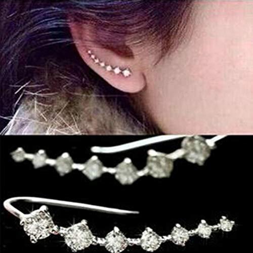 SSEHXL Pendientes Color Plata Pendientes de Cristal Brillante Pendientes de Temperamento Pendientes de Diamantes de imitación para Las Mujeres Joyería de la Boda