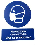 Cartel señal PVC 40 cm x 30 cm proteccion obligatoria mascarilla 1 mm espesor