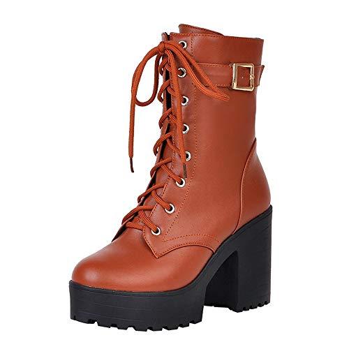 Dorical Ankle Boots mit Blockabsatz/Damen Stiefeletten High Heels Profilsohle Flandell Schnürstiefel Kurz Stiefel mit Reißverschluss(Kaffee,43 EU)