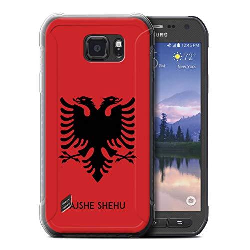 eSwish Personalisiert Persönlich National Nation Flagge 2 Gel/TPU Hülle für Samsung Galaxy S6 Active/G890 / Albanien/Albaner Design/Initiale/Name/Text Schutzhülle/Hülle/Etui