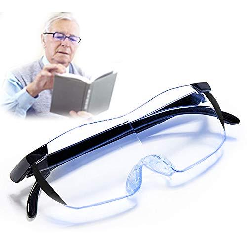 Blaulichtfilter Lupenbrille Anti Blaulicht Brille als Lesehilfe Sehhilfe,Vergrößerungsbrille 160% Hände Frei Verzerrungsfreier Leselupe Randlose Vorsetzbrille lese lupenbrille für Damen Herre Senioren