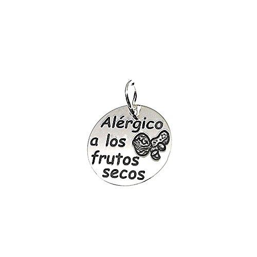 Colgante plata ley 925m 18mm. ALÉRGICO A LOS FRUTOS SECOS [AA7847GR] - Personalizable - GRABACIÓN INCLUIDA EN EL PRECIO