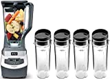 Professional Countertop Blender with 1100-Watt Base, 72oz Total Crushing Pitcher and (4) 16oz Cups for Frozen Drinks and Smoothies